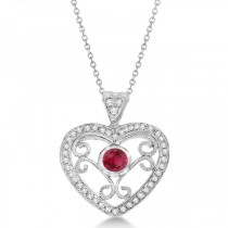 Ruby Gemstone Filigree Heart Pendant in 14K White Gold (0.44ct)