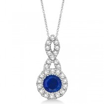 Blue Sapphire & Diamond Swirl Pendant Necklace 14K White Gold (0.39ct)