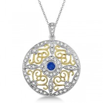 Antique Filigree Sapphire & Diamond Pendant 14K Two Tone Gold (0.51ct)