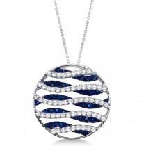Circle Blue Sapphire & Diamond Pendant Necklace 14K White Gold (1.53ct)