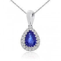 Diamond Teardrop Pear Sapphire Pendant Necklace 14k White Gold 0.57ct