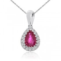 Diamond Teardrop Pear Ruby Pendant Necklace 14k White Gold (0.57ct)