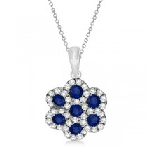 Sapphire & Diamond Flower Cluster Pendant Necklace 14k W. Gold 0.92ct