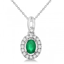 Oval Emerald & Diamond Halo Pendant Necklace in 14k White Gold 0.61ct
