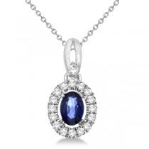 Oval Sapphire & Diamond Halo Pendant Necklace in 14K White Gold 0.61ct