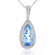Pear Shaped Topaz & Diamond Halo Pendant Necklace 14k White Gold 2.73ct