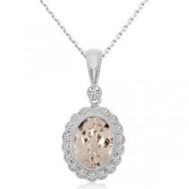 Diamond & Morganite Filigree Pendant Necklace 14k White Gold (0.77ct)