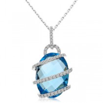 Diamond & Blue Topaz Swirl Pendant Necklace 14k White Gold (9.08ct)