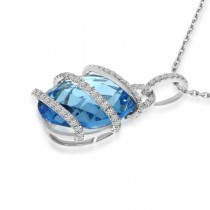 Diamond & Blue Topaz Swirl Pendant Necklace 14k White Gold (9.08ct)|escape