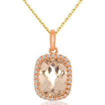 Diamond & Oval Morganite Drop Pendant Necklace 14k Rose Gold (2.08ct)
