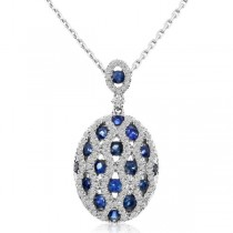 Diamond & Blue Sapphire Oval Pendant Necklace 14k White Gold (1.37ct)