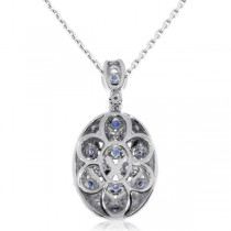 Diamond & Blue Sapphire Oval Pendant Necklace 14k White Gold (1.37ct)