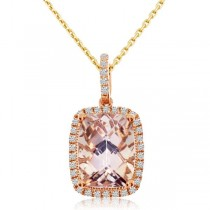 Diamond & Cushion Morganite Drop Pendant Necklace 14k Rose Gold 0.90ct