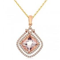 Diamond & Cushion Morganite Drop Pendant Necklace 14k Rose Gold 1.59ct