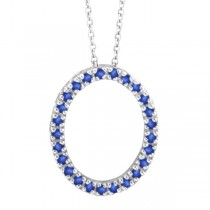 Blue Sapphire Oval Pendant Necklace w/ Chain 14k White Gold (0.25ct)