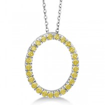 Yellow Canary Diamond Oval Pendant Necklace 14k White Gold (0.25ct)