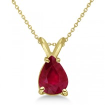 Pear Cut Ruby Solitaire Pendant Necklace 14K Yellow Gold (0.75ct)