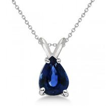 Pear Cut Sapphire Solitaire Pendant Necklace 14K White Gold (0.75ct)