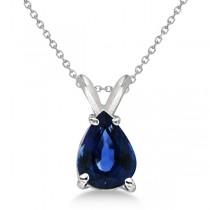 Pear Cut Sapphire Solitaire Pendant Necklace 14K White Gold (0.75ct)