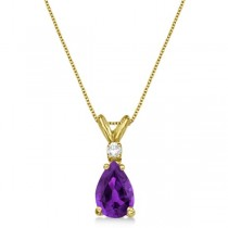 Pear Amethyst & Diamond Solitaire Pendant Necklace 14k Yellow Gold (0.75ct)