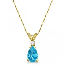Pear Blue Topaz & Diamond Solitaire Pendant Necklace 14k Yellow Gold (0.75ct)