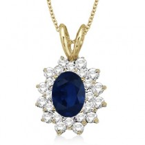 Blue Sapphire & Diamond Accented Pendant 14k Yellow Gold (1.60ctw)