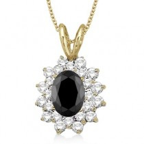 Black & White Diamond Accented Pendant 14k Yellow Gold (1.60ctw)