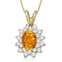 Citrine & Diamond Accented Pendant 14k Yellow Gold (1.60ctw)