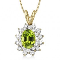 Peridot & Diamond Accented Pendant 14k Yellow Gold (1.60ctw)