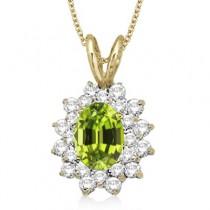 Peridot & Diamond Accented Pendant 14k Yellow Gold (1.60ctw)