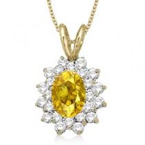 Yellow Sapphire & Diamond Accented Pendant 14k Yellow Gold (1.60ctw)