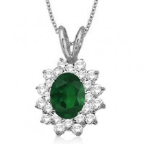 Emerald & Diamond Accented Pendant 14k White Gold (1.60ctw)