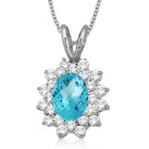 Blue Topaz & Diamond Accented Pendant 14k White Gold (1.60ctw)