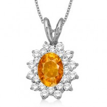 Citrine & Diamond Accented Pendant 14k White Gold (1.60ctw)