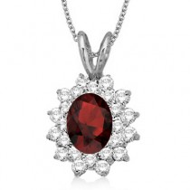 Garnet & Diamond Accented Pendant 14k White Gold (1.60ctw)