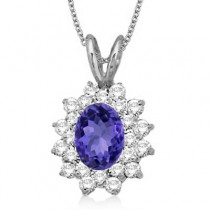 Tanzanite & Diamond Accented Pendant 14k White Gold (1.60ctw)