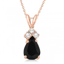 Pear Black Diamond & Diamond Solitaire Pendant 14k Rose Gold (0.75ct)