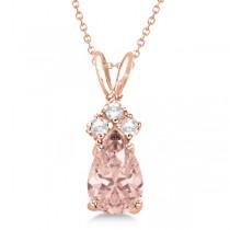 Pear Morganite & Diamonds Solitaire Pendant 14k Rose Gold (0.75ct)