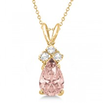 Pear Morganite & Diamonds Solitaire Pendant 14k Yellow Gold (0.75ct)