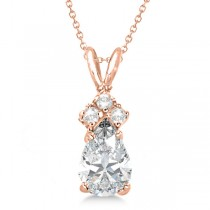 Pear Moissanite & Diamonds Solitaire Pendant 14k Rose Gold (0.75ct)