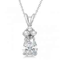 Pear Moissanite & Diamond Solitaire Pendant 14k White Gold (0.75ct)