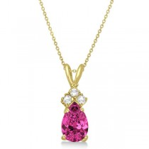 Pear Pink Tourmaline & Diamond Solitaire Pendant 14k Yellow Gold (0.75ct)