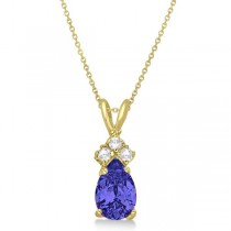 Pear Tanzanite & Diamond Solitaire Pendant 14k Yellow Gold (0.75ct)