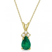 Pear Emerald & Diamond Solitaire Pendant 14k Yellow Gold (0.75ct)