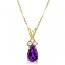Pear Amethyst & Diamond Solitaire Pendant 14k Yellow Gold (0.75ct)