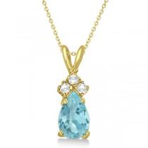 Pear Aquamarine & Diamond Solitaire Pendant 14k Yellow Gold (0.75ct)