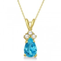 Pear Blue Topaz & Diamond Solitaire Pendant 14k Yellow Gold (0.75ct)