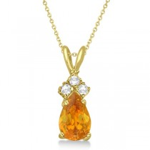 Pear Citrine & Diamond Solitaire Pendant 14k Yellow Gold (0.75ct)