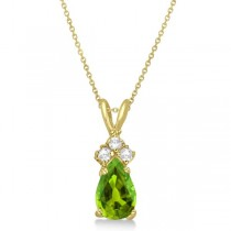 Pear Peridot & Diamond Solitaire Pendant 14k Yellow Gold (0.75ct)
