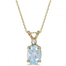 Oval Aquamarine & Diamond Solitaire Pendant 14K Yellow Gold (0.75ct)